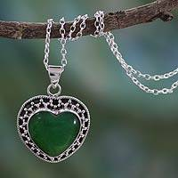 Sterling silver heart necklace, 'Forever in Love' - Green Heart Pendant on Sterling Silver Artisan Jewelry