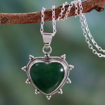 Sterling silver heart necklace, 'Star Heart' - Sterling Silver and Green Agate Artisan Crafted Necklace