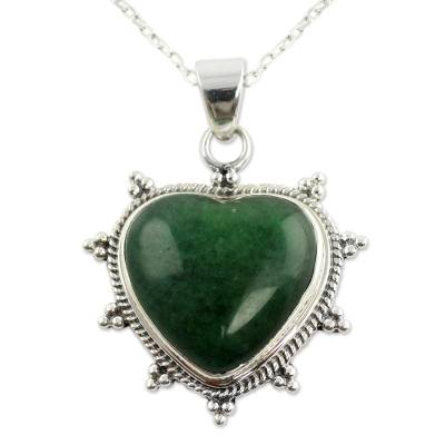 Sterling Silver and Green Agate Artisan Crafted Necklace