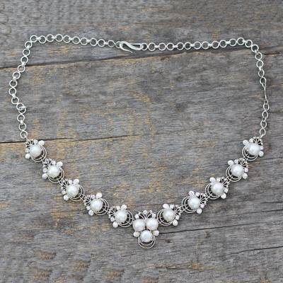 Cultured pearl pendant necklace, 'Grand Romance' - Cultured Pearl and Silver Pendant Necklace with CZ