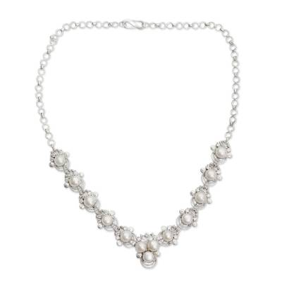 Cultured pearl pendant necklace, 'Grand Romance' - Cultured Pearl and Silver Pendant Necklace with CZ