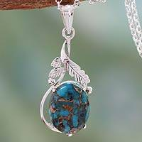 Sterling silver pendant necklace, 'Elegance' - Composite Turquoise jewellery in a Silver Necklace