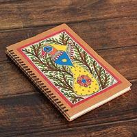 Madhubani journal, 'Bihar Songbird' - Handmade Madhubani Painting Journal