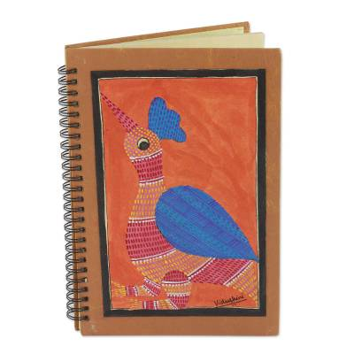 Journal, 'Gond Rooster' - Handmade India Gond Tribal Folk Art Journal with Rooster
