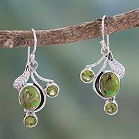 Peridot dangle earrings, 'Dew Blossom' - Green Turquoise and Peridot Earrings from India