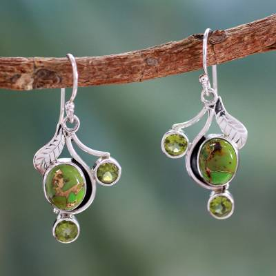 Dew Blossom - Green Turquoise and Peridot Earrings
