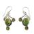 Peridot dangle earrings, 'Dew Blossom' - Green Turquoise and Peridot Earrings from India (image 2a) thumbail