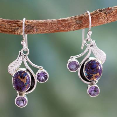Amethyst dangle earrings, 'Dew Blossom' - Purple Turquoise and Amethyst Handmade Earrings from India