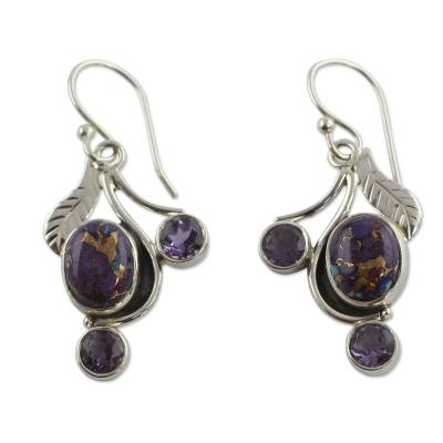 Purple Turquoise and Amethyst Handmade Earrings from India