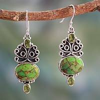 Peridot dangle earrings, 'Morning Joy' - Handcrafted Silver Green Turquoise and Peridot Earrings