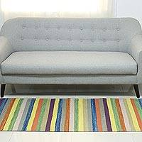Wool runner, 'Colorful India' (2.5x8) - Multicolored Long Wool Dhurrie Runner from India