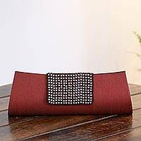 Beaded clutch evening bag, 'Ruby Allure' - Beaded Fair Trade Red Clutch