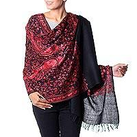 Wool shawl, 'Radiant Paisley' - Chain Stitch Embroidered Red and Black Wool Shawl
