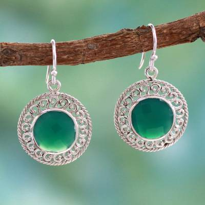 Sterling silver dangle earrings, 'Mystical Shields' - Sterling Silver and Green Onyx Earrings from India Jewelry