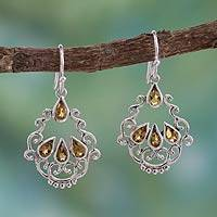 Citrine dangle earrings, 'Mughal Nostalgia' - Citrine Earrings in Artisan Crafted Sterling Silver Jewelry