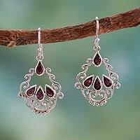 Garnet dangle earrings, 'Mughal Nostalgia' - Garnet Earrings in Artisan Crafted Sterling Silver Jewelry
