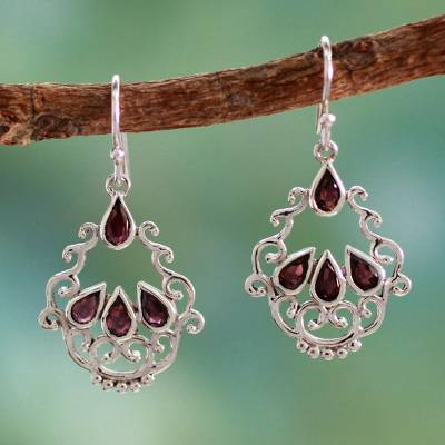 Garnet dangle earrings, 'Mughal Nostalgia' - Garnet Earrings in Artisan Crafted Sterling Silver Jewelry