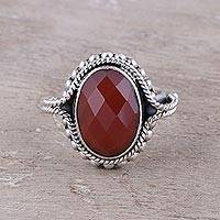 Carnelian cocktail ring, 'Sun Afire'
