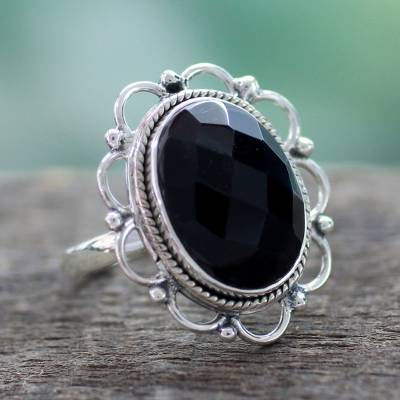 Onyx and Sterling Silver Flower Ring from India