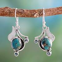 Blue topaz earrings, 'Dew Blossom' - Blue Turquoise and Blue Topaz Handmade Earrings from India