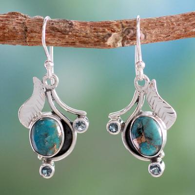 Novica Blue topaz earrings, Dew Blossom