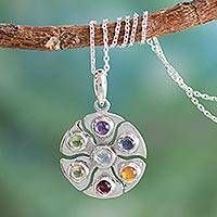 Gemstone pendant necklace, 'Chakra Circle' - Fair Trade 7 Stone Silver Chakra Necklace