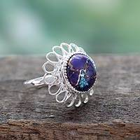 Sterling silver flower ring, 'Violet Blossom' - Purple Composite Turquoise Ring