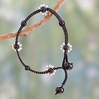 Onyx flower anklet, 'Blossoming Quartet' - Macrame Ankle Jewelry Crafted by Hand with Onyx and Silver