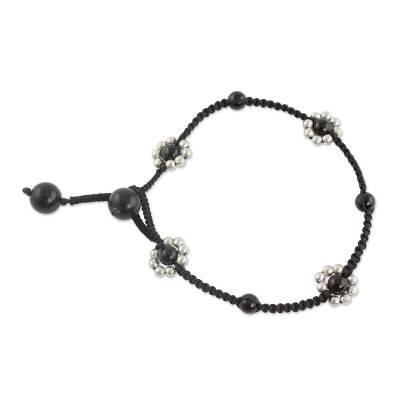 Macrame Ankle Jewelry Crafted by Hand with Onyx and Silver