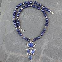 Lapis lazuli pendant necklace, 'Glorious Blue'