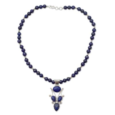 Lapis lazuli pendant necklace, 'Glorious Blue' - Handmade Lapis Lazuli and Silver Necklace