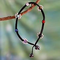 Gemstone anklet, 'Chakra Peace Spirit' - Handcrafted Multigem Chakra Anklet with Silver Accents