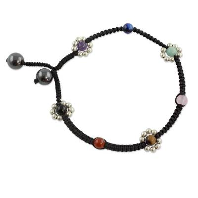 Gemstone anklet, 'Chakra Peace Spirit' - Handcrafted Chakra Anklet with Silver and Gems
