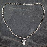 Cultured pearl pendant necklace, 'Angelical' - Handmade White Cultured Pearl and Sterling Silver Necklace