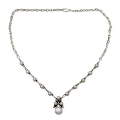 Cultured pearl pendant necklace, 'Angelical' - India Handmade Silver Necklace with White Cultured Pearl