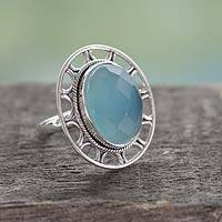 Chalcedony cocktail ring, 'Mumbai Sky' - Modern Silver Ring with Blue Chalcedony