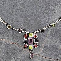 Amethyst and garnet pendant necklace, 'Tropical Celebration' - Handcrafted Gemstone Necklace