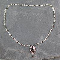 Garnet pendant necklace, 'Romantic Wine'