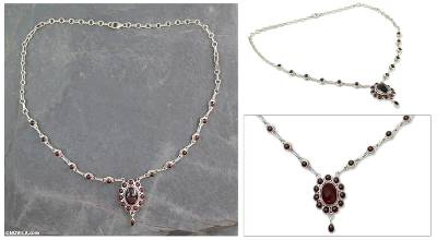 Garnet pendant necklace, 'Romantic Wine' - Silver Necklace with 23 Garnets