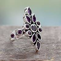 Amethyst cocktail ring, 'Luxurious' - Handmade Amethyst Cocktail Ring