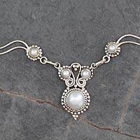 Cultured pearl pendant necklace, 'Angel Love' - Indian Artisan Cultured Pearl and Silver Pendant Necklace