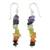 Peridot and carnelian cluster earrings, 'Color Mantra' - Artisan Crafted 7 Stone Chakra Earrings (image 2a) thumbail