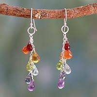 Garnet and carnelian cluster earrings, 'Vibrancy' - Unique Indian Multi-Gem Earrings in Sterling Silver