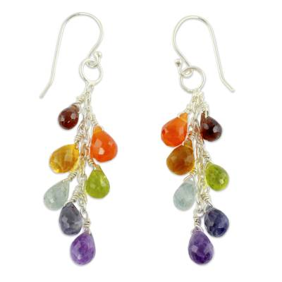 Colorful Multi Gemstone Cluster Earrings from India