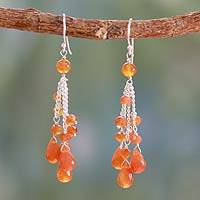 Carnelian waterfall earrings, 'Fiery Cascade' - Sterling Silver Earrings with Carnelian Drops