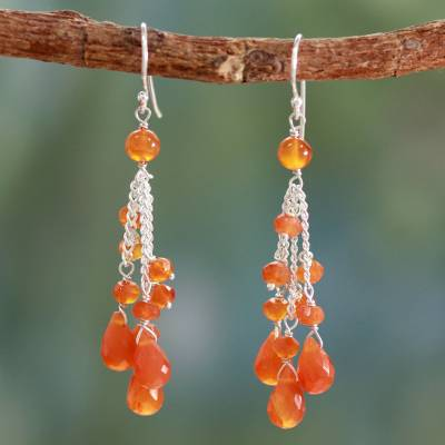 Carnelian waterfall earrings, 'Fiery Cascade' - Carnelian Earrings