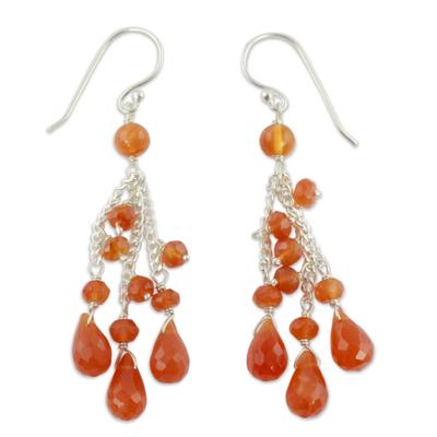 Carnelian waterfall earrings, 'Fiery Cascade' - Carnelian Earrings