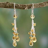 Citrine waterfall earrings, 'Golden Cascade' - Citrine Earrings