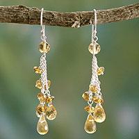 Citrine waterfall earrings, 'Golden Cascade' - Citrine Earrings