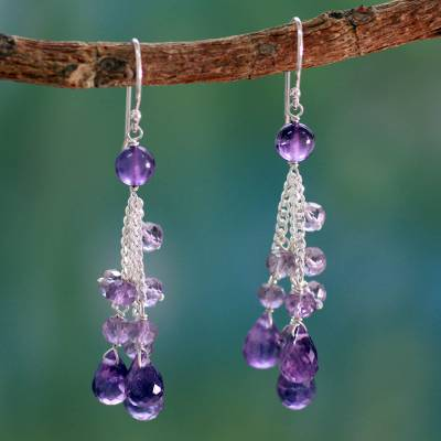 Amethyst waterfall earrings, 'Violet Cascade' - Amethyst Earrings